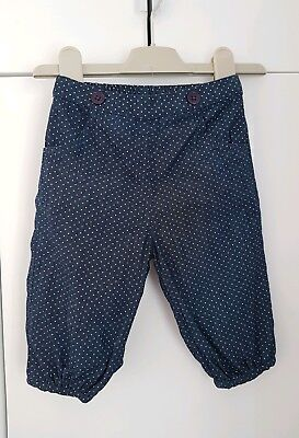 JOHN LEWIS BABY lined Trousers 3-6 Months NAVY POLKA DOT NEW
