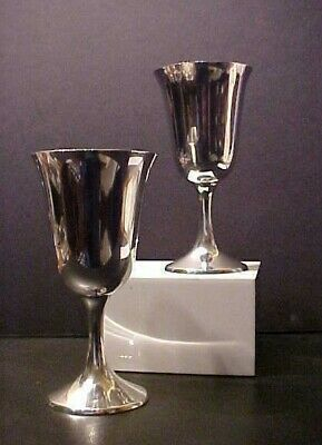 STERLING SILVER STEM WINE /WATER GOBLETS by MANCHESTER, #952 SET OF 2, 8.50 oz