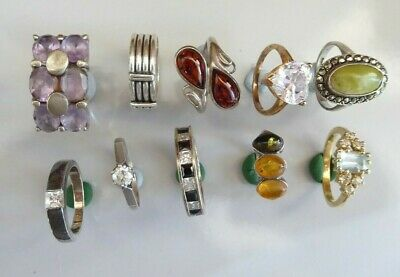 Mixed lot of 10 rings - mainly 925 silver various sizes ##gaBEL76ABS