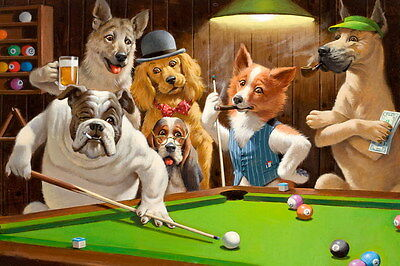 Art Giclee Print Dogs Playing Pool Billiards Oil painting Printed on Canvas P639