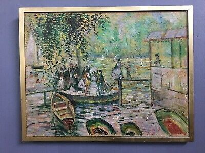 Antique 19th Century French Oil On Canvas Painting In Gold Gilt Frame