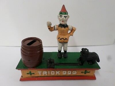 """Vintage Cast Iron Mechanical Coin Bank Trick Dog and Circus Clown Taiwan 8"""" Long"""