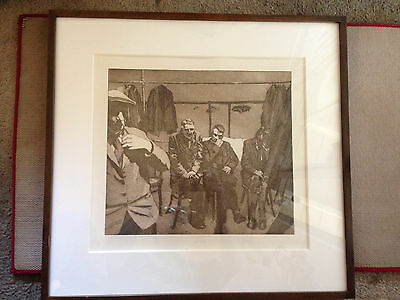 Elisse Pogofsky-Harris The Men Waiting Year 1974 Etching Signed #7/10 VERY RARE!