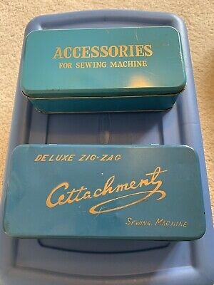 Vintage Hinged Tin Sewing Machine Accessories Box Deluxe Zig-Zag Attachments