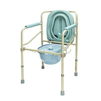 Heavy Duty Adult Toilet Seat Commode Chair Bedside Steel Bariatric with Cover