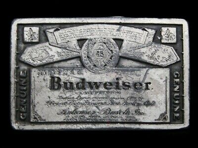 MH11113 VINTAGE 1970s **GENUINE BUDWEISER LAGER BEER** BELT BUCKLE