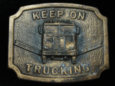 PJ09159 VINTAGE 1970s **KEEP ON TRUCKING** COMMEMORATIVE BRASSTONE BELT BUCKLE