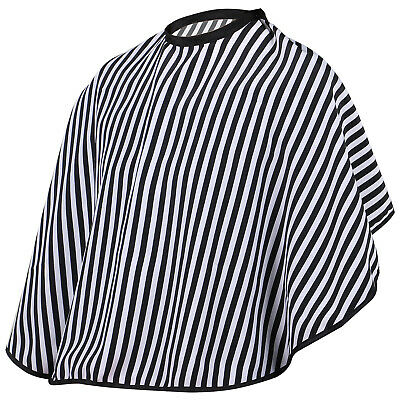 Hairdressers Barbers Shoulder Cape Gown Adjustable Black and White Stripe - By