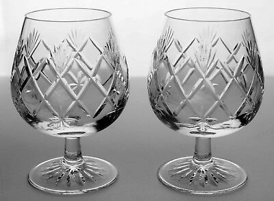 Edinburgh Crystal (Scotland) 'Kelso' Large Brandy Glasses x 2 - Exquisite