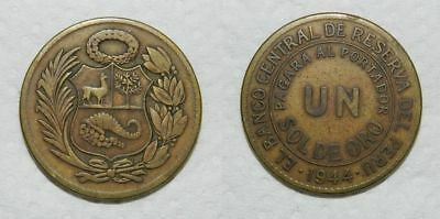 PERU : UN SOL 1944  - Large Brass Coin 33mm