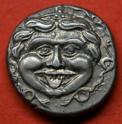 SUPERB SILVER HEMIDRACHM OF MYSIA, PARION, 4th CENTURY BC. GORGON / BULL. E.F+