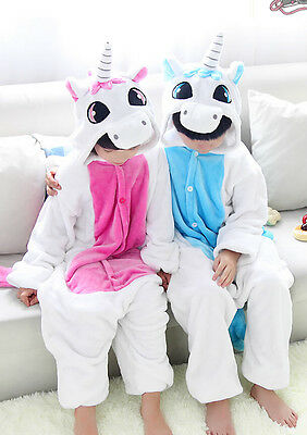 Boys Girls Kids Pajamas Kigurumi Unisex Cosplay Animal Costume Unicorn Nightwear