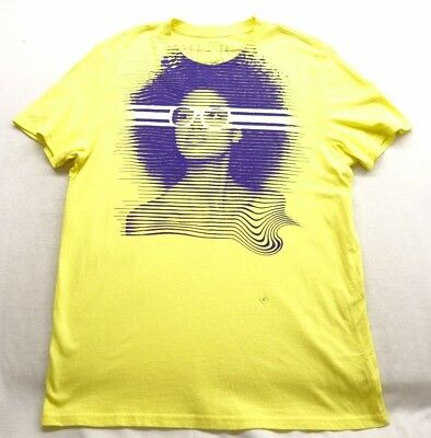 New American Eagle Mens #3563 Yellow Vintage Fit Graphic Cotton Shirt Size Large
