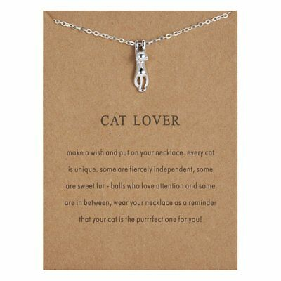 Charm Silver Card Cat Lover Animal Necklace Necklace Pendant Chain Women Jewelry