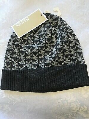 94f3b7bc9 NWT MICHAEL KORS Beanie Hat Os Derby Gray Silver Metallic 537336Cl Msrp  $42.00