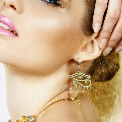 Egyptian Cleopatra Revival Wedjat Eye of Horus Ra Dangle Earrings Wicca Pagan W
