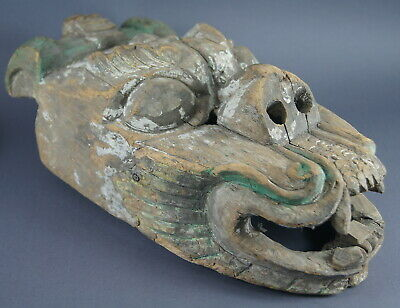 Fine Antique Asian Tibetan Nepalese Buddhist Carved Wooden Polychrome Mask Nr!