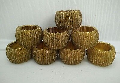 Vintage beaded  napkin rings x 8