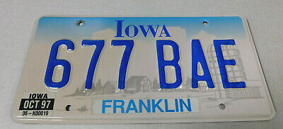 1997 Iowa passenger car license plate Franklin county