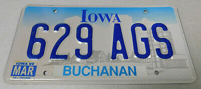 1999 Iowa passenger car license plate Buchanan county