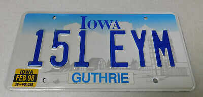1998 Iowa passenger car license plate Guthrie county