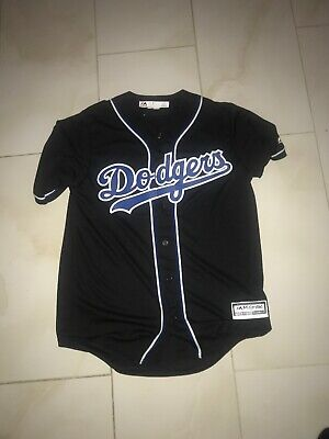 MLB Los Angeles Dodgers Men s Cool Base Black Royal Baseball Jersey MEDIUM 9a360370b