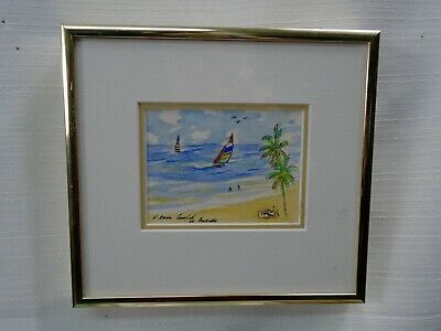 Lovely Small Framed watercolor Painting Ocean Beach Christ Church Barbados 1989