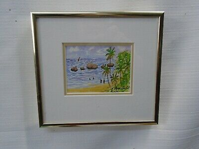 Lovely Small Framed watercolor Painting Ocean Beach Christ Church Barbados 1990