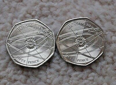 VERY RARE  50p COINS X 2 .SIR ISAAC NEWTON..RINGS AND ELLIPSES 2017 .