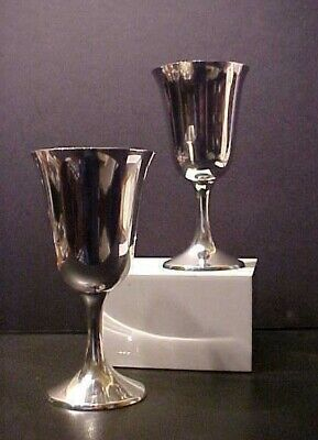STERLING SILVER STEM WINE /WATER GOBLETS by MANCHESTER, #954 SET OF 2, 8.60 oz