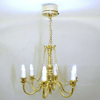 Dollhouse Golden Candle Chandelier Battery Operated 1:12 Miniature Lighting