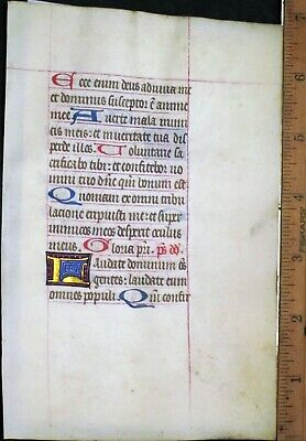 Medieval Illuminated Manuscript Lf,Vellum,BoH.Initial in Gold,Psalm 117/8,c.1460