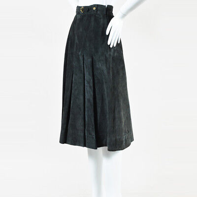 VINTAGE Gucci Gray Suede 'GG' Pleated Midi Skirt SZ 44