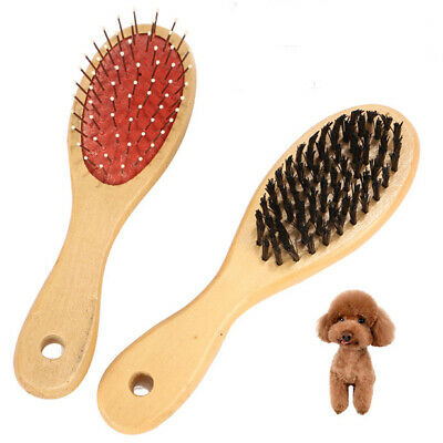 Double Sided Wooden Pet Brush Dog Cat Hair Grooming Fur Shedding Comb Tool S/L
