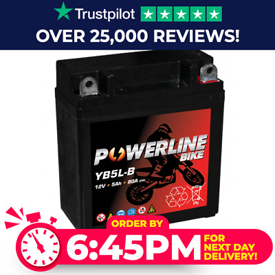 Powerline YB5L-B Motorcycle Battery for Yamaha RD350LC LCF (85) - 350cc