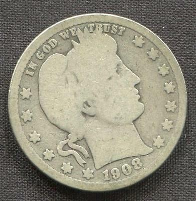 1908-O Barber Quarter | 90% Silver 25 cents | New Orleans (RC5474.EB2)
