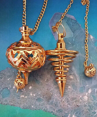 2 Large Unusual Gold Vortex And Filigree Pendulums With Chains And Pouches