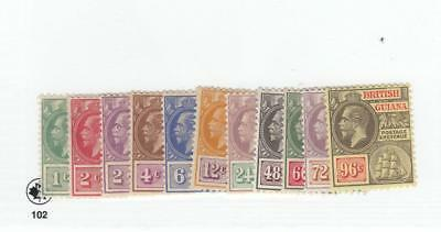 BRITISH GUIANA # 191-201 VF-MH KGV SELECTION TO 96cts CAT VALUE $121.75