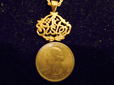 bling gold plated SIBLING LOVE #1 SISTER pendant charm hip hop necklace JEWELRY