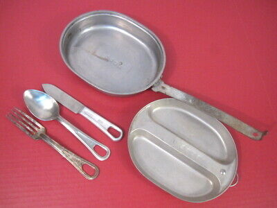 WWII US Army/USMC Mess Kit Complete w/Utinsels Knife, Spoon & Fork - Dtd 1944 #1