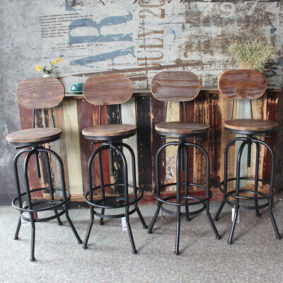 Astounding 4Pcs Industrial Rustic Wood Bar Counter Stool Backrest Dailytribune Chair Design For Home Dailytribuneorg