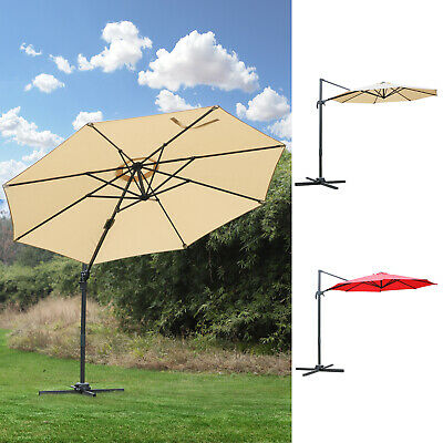 9.7ft Offset Parasol Cantilever Hanging Umbrella 360° Rotation w/ Cross Base