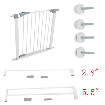 Easy Locking Dog Kids Baby Pet Safety Gate Door Walk Through Toddler White