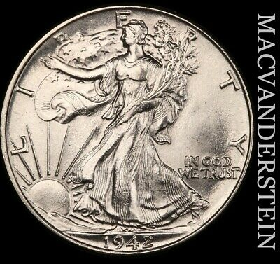 1942 Walking Liberty Half Dollar - Choice  Brilliant Uncirculated+++!!  #e5184