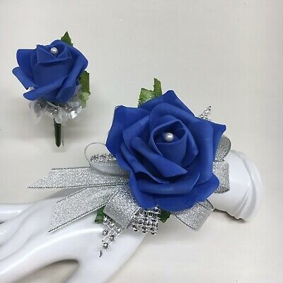 Royal Blue Rose on Silver  Wrist Corsage & Boutonniere Combo