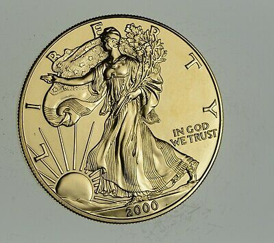 2000 24 Kt Gold Plated American Silver Eagle - Beautiful Coin! 1 Oz .999 *882