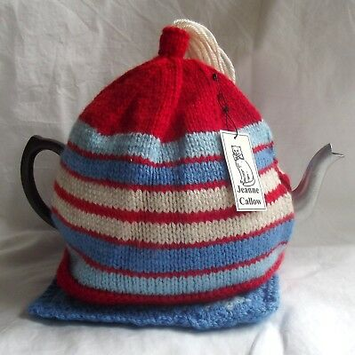 Handmade Tea Cosy With Mat Blue Red And Cream
