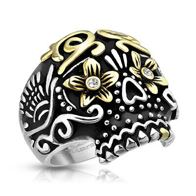 Gold Day Of The Dead Sugar Skull Wide 316L Stainless Steel Casting Biker Ring