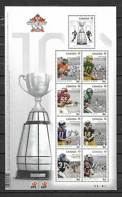 pk41588:Stamps-Canada #2567 100th Grey Cup Game 9 x 'P' Rate Souvenir Sheet -MNH