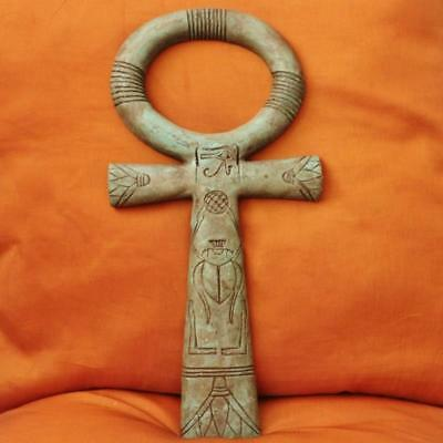 XX-Large Amazing Antique Handmade Egyptian Wall Plaque Ancient Cross ANKH Statue